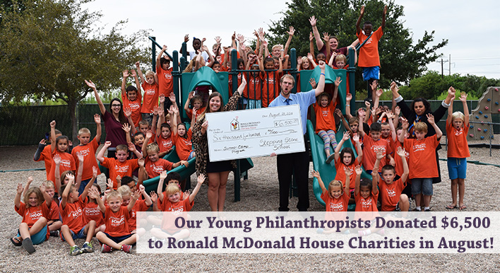 Stepping Stone School Austin PreSchoolers present check to Ronald McDonald House 2018
