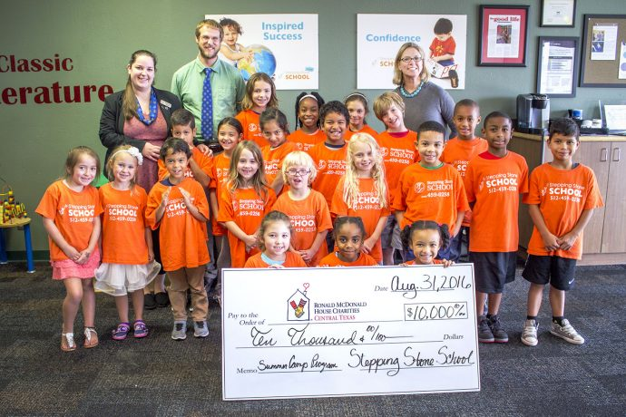 Stepping Stone School Austin PreSchoolers present check to Ronald McDonald House 2017