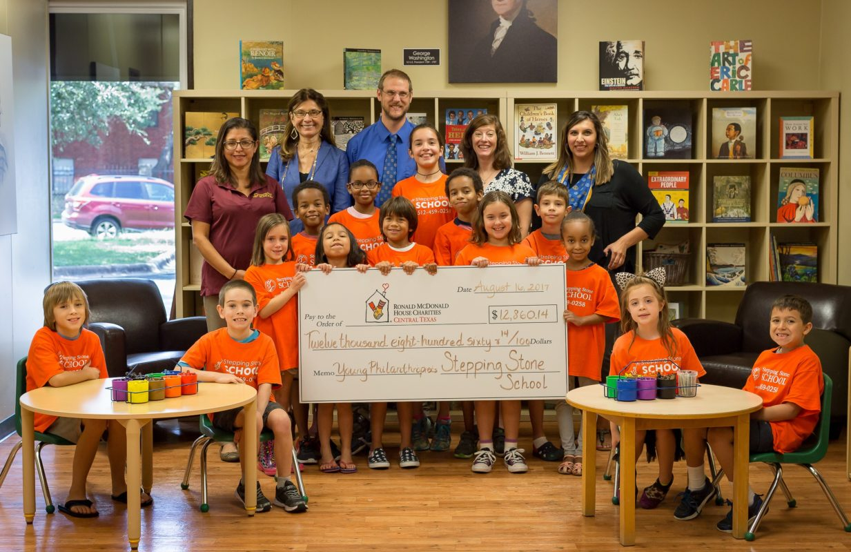 Stepping Stone School Austin PreSchoolers present check to Ronald McDonald House